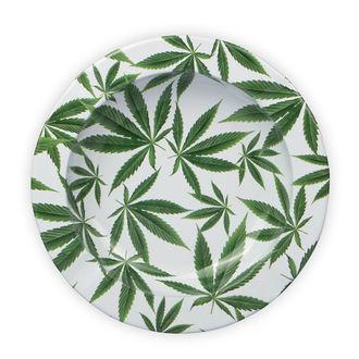 Cendrier En Métal Avec Feuille De Cannabis