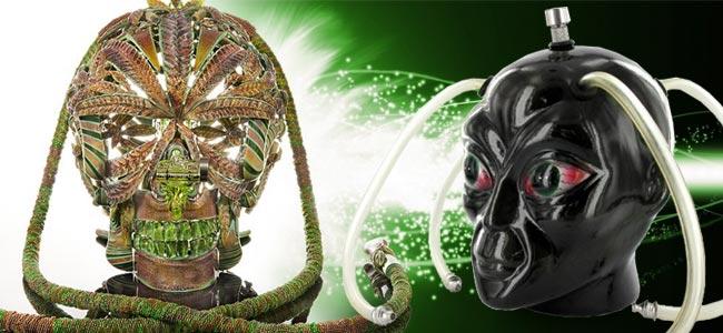 Le Bang Crâne Incrusté D'Or De Scott Deppe & La Tête D'Alien Céramique