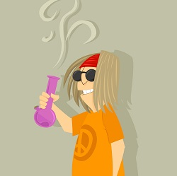 Stoner with bong